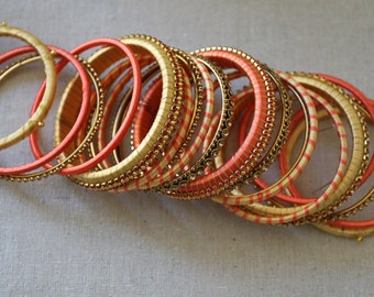 Peaches and Cream Silk Thread Bangles..Opening Sale Deeply Discounted prices