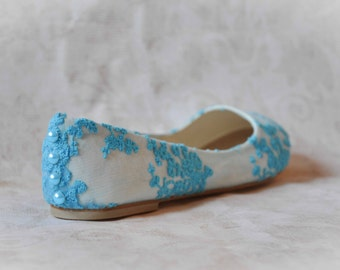 Blue lace wedding shoes blue wedding shoes bridal shoes blue flat shoes blue blue wedding flats lace wedding shoes blue lace shoes SIZE 7.5