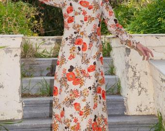 Vintage Long Flower Dress, Orange - Cream and Brown, Straight line, Mao collar
