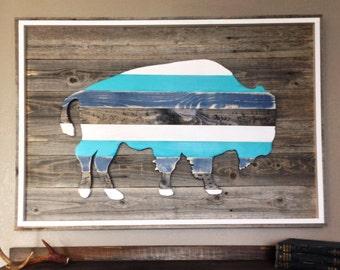 Buffalo Art Large // Bison Art Piece // Native American Art
