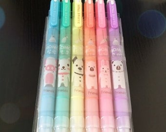 Cute Rainbow Pastel Highlighters - Set of 6 / Kawaii / Stationery / Office / Revision / School / Student / Teacher / Gift