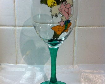 Alice in Wonderland Mad Hatter Large Hand Painted Wine Glass