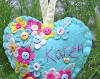 Felt heart hanging decoration, can be personalized