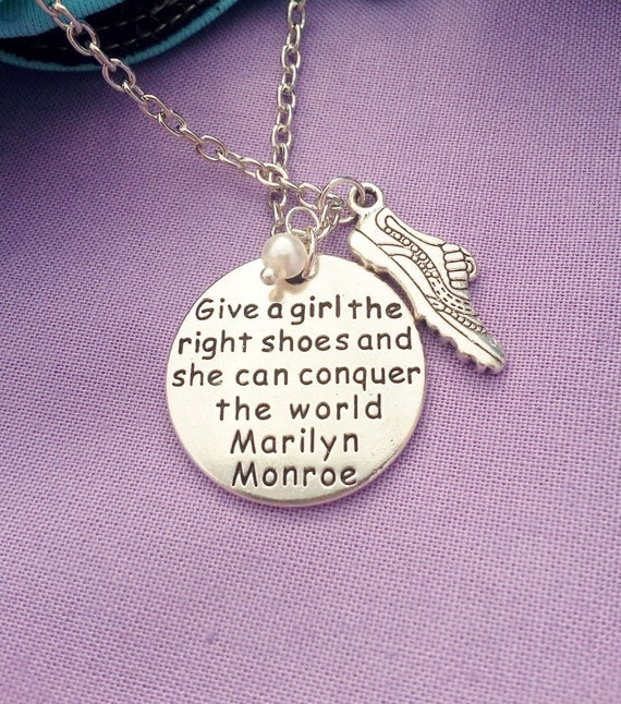 Personalized Gift for Runners, CrossFit Marathon Jewelry, Running Shoe Charm Necklace, Give a Girl The Right Shoes Charm, Birthstone Jewelry