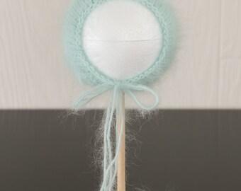 Knit Newborn Photography Prop Angora Bonnet Hat Ties Blue Teal Mint Baby