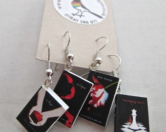 "Twilight Saga Books Earrings from ""The Earring Library"""