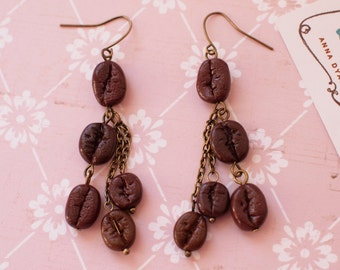 Coffee beans earrings with chains Coffee lovers