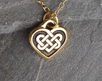 Tiny Celtic Heart Necklace / Small gold Celtic Heart Knot Necklace / Gold plated Heart / Gold filled chain