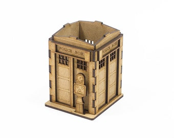 Miniature London Police Box - unfinished office desktop organizer - desk storage for crafts
