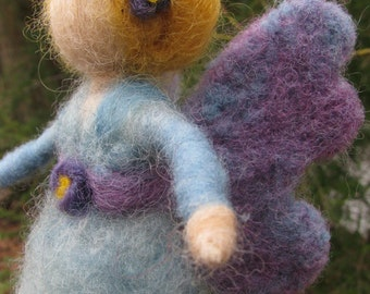 Needle felted Butterfly Fairy. Needle felted Purple and Blue Wool fairy. Waldorf inspired Wool Fairy