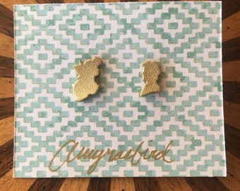 Ariel and Eric Silhouette Gold Earrings