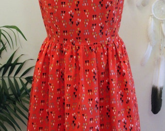 The Daily Dress/ Dress/Organic Cotton/ Cotton/ Arrowhead/ Tomato/ Red/ Fit and Flare/ Handmade