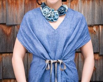 Linen Caftan, Linen Long Dress, Linen Maxi Dress, Linen Tunic Dress, Beach Dress, Flax Dress, Blue Linen Dress