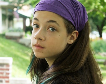 Girl's Cotton Headscarf Purple Headband Hippie Headscarves Lightweight Head Cover Purple Headcovering Hair Loss Head Wrap (#2709)