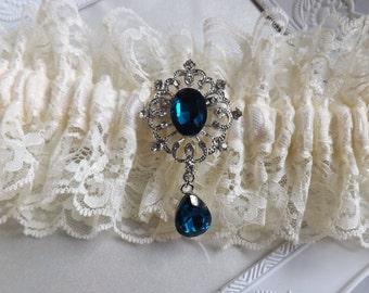 Ivory Wedding Garter, Lace Garter, Wedding Garter, Ivory Satin garter, Blue Garter, Ivory Bridal garter, Lace Garter, Boho Vintage Garter
