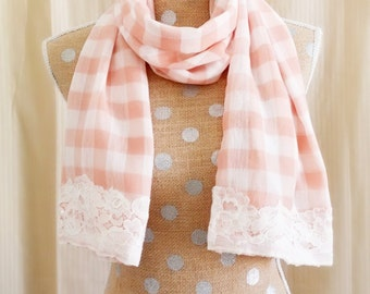 Pink Checkered Lace Trim Scarf, Fashion Scarf, Pink Scarf, Checkered, Scarf, Scarves, Women's Scarf, Chiffon Scarf, Lace Scarf, Lace Trim