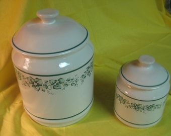 """Corelle """"Calloway"""" green ivy coordinates - 2 canisters"""
