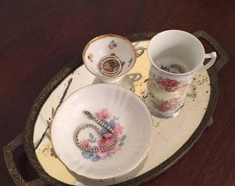 Vintage Set of Mismatched China Teacups and Bowl with Rose Patterns | Made in Germany