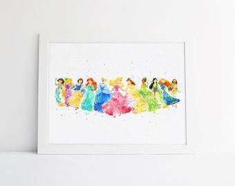 Disney Princess collection disney watercolor Nursery princess printable princess gifts Bedroom Decor disney wall art Baby Room disney poster