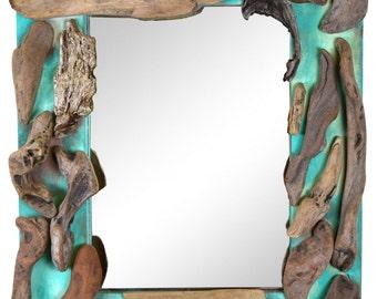 Driftwood Mirror - Light Green