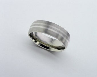 Platinum Wedding Ring, Titanium Band, Inlaid Titanium Wedding Band, Mens Wedding Band, Personalised Band