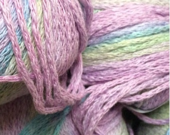 Cotten Blend Yarn, Belle Colour by Plymouth Yarns in Blue, Rose and sage multi color lot of 8 skeins made in Italy