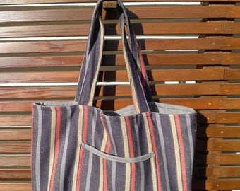 Striped Cotton Blend Large Beach Tote