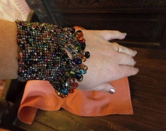 Multi-color Beaded Dangly Cuff Bracelet