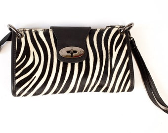 Zebra Leather Clasp Clutch