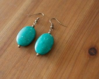 Blue Green Turquoise Dangle Earrings, Chunky Turquoise Drop Earrings, Boho Turquoise Earrings, Southwestern Turquoise Earrings