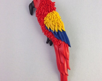 Polymer clay brooch in the shape of a parrot-Scarlet Macaw red-unique piece