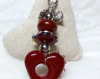 """Pendant """"heartbeat ivory with silverglass"""" ©ShiningBeads"""