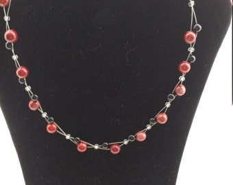 Handmade Necklace with Red and Black Beads