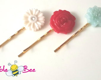 Pink Flower hair pins, Set of 3, vintage hair pins, hair accessories, rose hair pin, quartz blue hair pin, shabby chic, Made in Canada