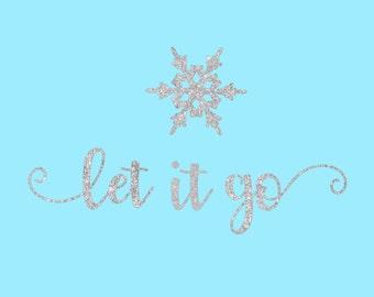 Let it Go Frozen Elsa Glitter Iron On Vinyl Decal Matching Family Mother Daughter Sister Friend's Disney Vacation Vinyl for T Shirt