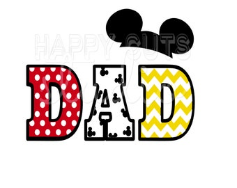 Dad Mickey and Minnie Mouse Ears with Pants and Buttons Classic Red Yellow Matching Family Cheer Dad Disney Iron On Decal Vinyl 4 Shirt 012