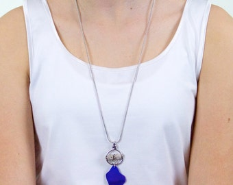 Cobalt blue seaglass necklace «Atlantide»