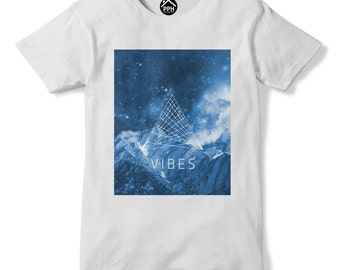 Mountain Vibes Sacred Geometry T Shirt Space Galaxy Tshirt Ski Climb Shape PP167
