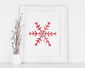 Scandinavian Christmas Snowflakes, Instant Download, 8x10 Print, Holiday Decorations, Watercolor Printable Art, Red Nordic Seasonal Decor