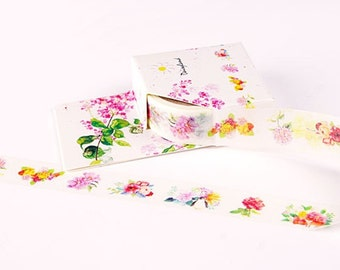 Pretty flower washi masking tape 5M colorful flower sticker tape garden flower tape blossom flower garden planner sticker gift wrapper tape