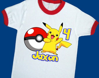 Pikachu Birthday Shirt. Pokemon Personalized Birthday Ringer with Name and Age. 1st 2nd 3rd 4th 5th 6th 7th Birthday T Shirt (25159)