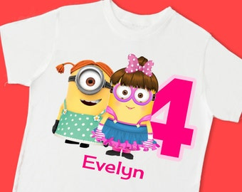 Girl Minions Birthday Tee. Personalized Birthday T-Shirt. Personalized with Name, Age or Number. 1st 2nd 3rd 4th 5th 6th Birthday. (15072)