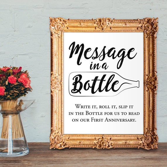 Wedding Photo Guestbook: Wedding Guest Book Sign Message In A Bottle Anniversary