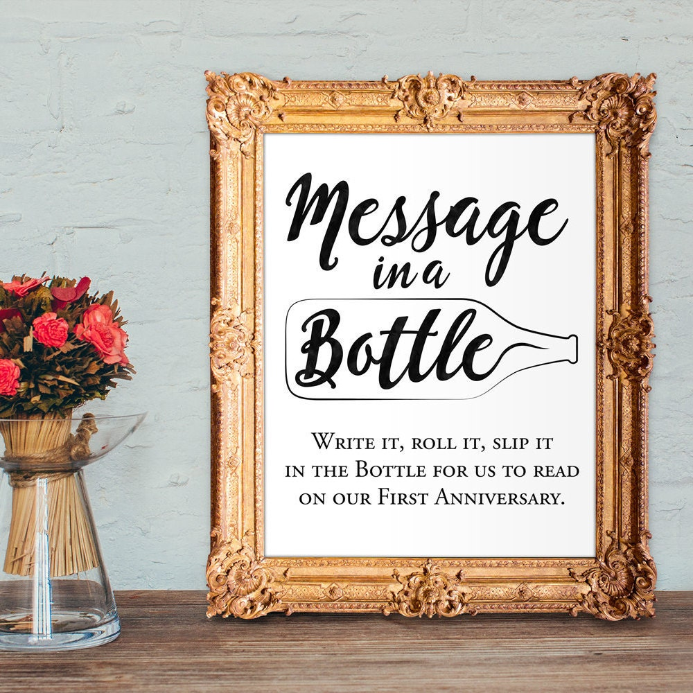 Wedding Guest Book Ideas: Wedding Guest Book Sign Message In A Bottle Anniversary