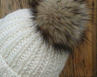 Spare Sable Mink Brown Faux Fur Pom Pom Bobble for hat with press stud. Extra long fur. Large Detachable pom pom