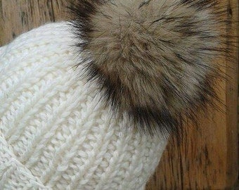 Spare Sable Mink Brown Faux Fur Pom Pom Bobble for hat with press stud.2 Colour ways. Extra long fur. Large Detachable pom pom