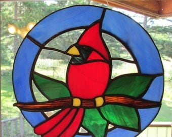 Stained Glass, Cardinal, Red Bird, Redbird, Suncatcher, Glass Art,