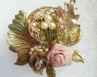 Vintage collage Brooch, Multi Tones and Textures, Rose and Cornucopia.