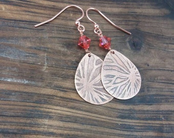 Etched Copper Butterfly Wing Metalwork Earrings