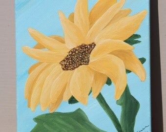 Sunflower on Blue: Original Acrylic Painting on Stretched Canvas, 5x7 inches